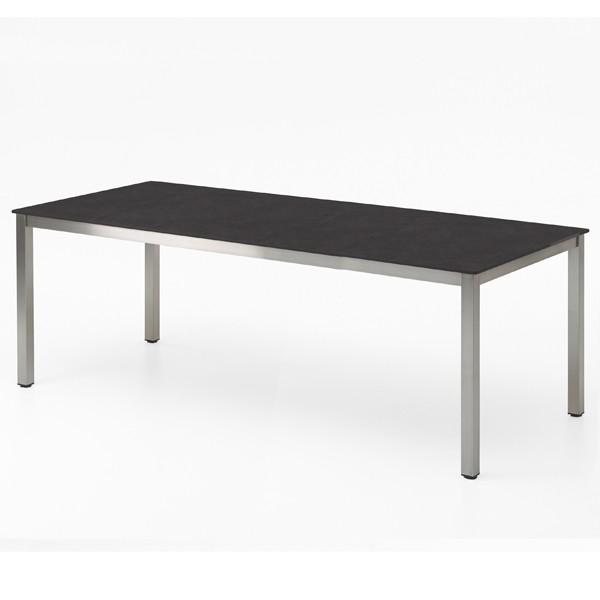 Niehoff Nelson Gartentisch Edelstahl-HPL 95x239cm Granit-Design