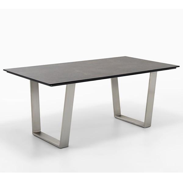 Niehoff Noah Gartentisch mit Trapezkufe und Tischplatte HPL Granit-Design, Ausführung 200cm
