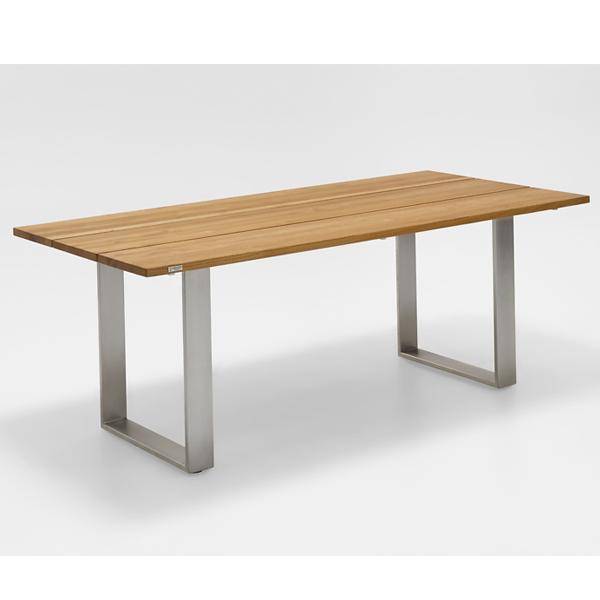 Niehoff Noah Gartentisch mit Profilkufe und Tischplatte Teak gebürstet, Ausführung 200cm