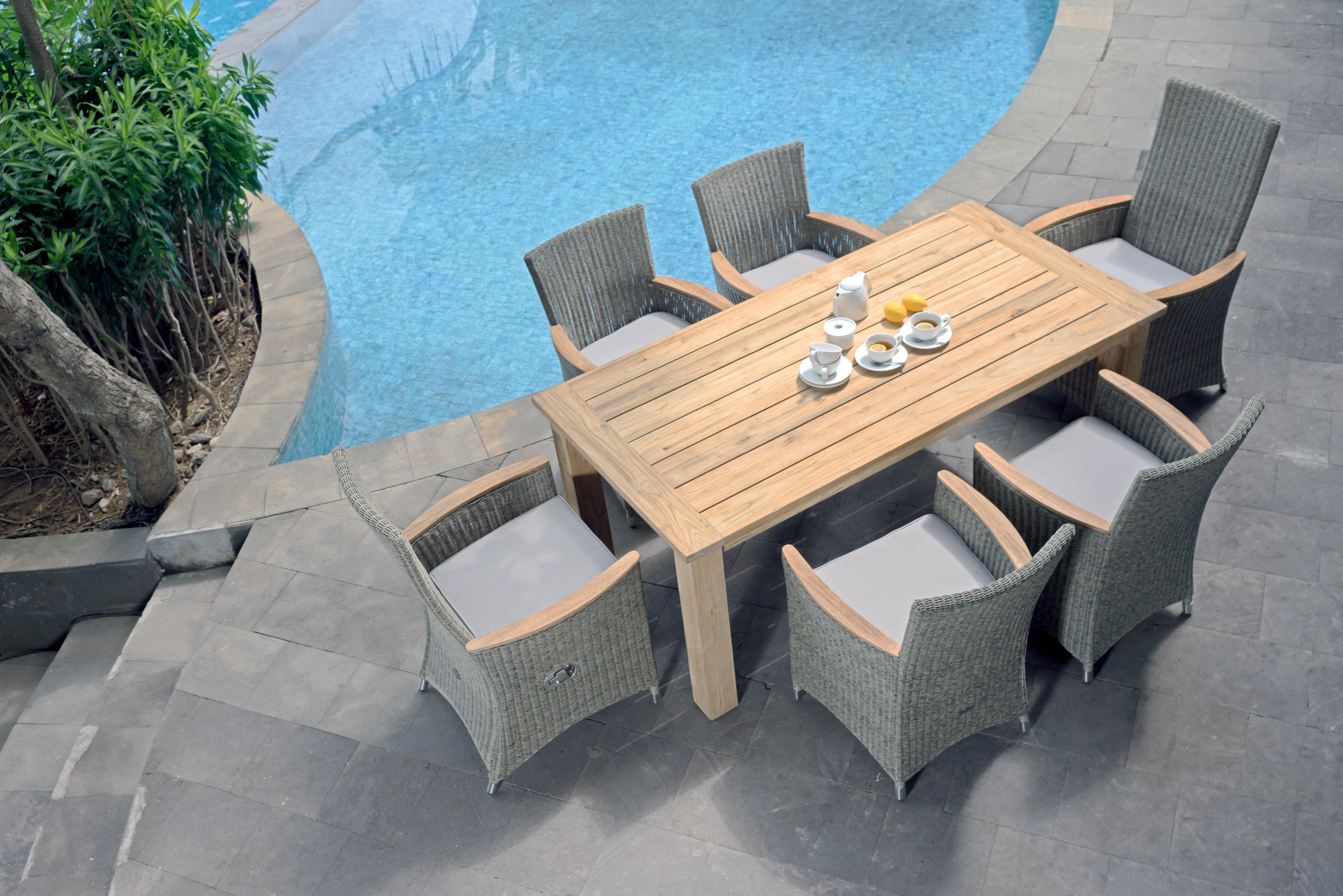Zebra Gartenmöbel-Set Oskar-Status Grey-Black: Tischdekoration gehört nicht zum Lieferumfang.