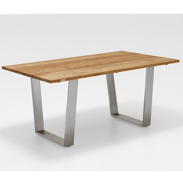 Abbildung zeigt alternative Ausführung mit gebürsteter Teak Tischplatte.