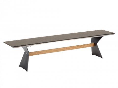 Niehoff Nero Bank Ausführung HPL grau/braun, abweichende Breite 220cm