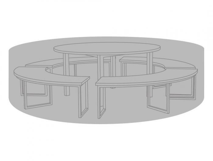 Die Gartenmöbel gehören nicht zum Lieferumfang. Schutzhülle passt nicht beim Onyx Tisch in Kombination mit Bänken.