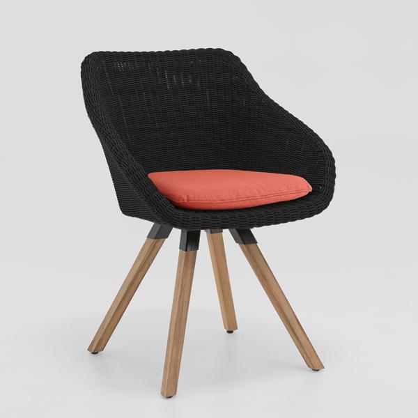 Niehoff Nizza Sessel mit Teak 4-Fuß-Gestell, Geflecht black (Sitzkissen nicht im Lieferumfang enthalten)